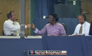 Pedro and Lowe fistbump